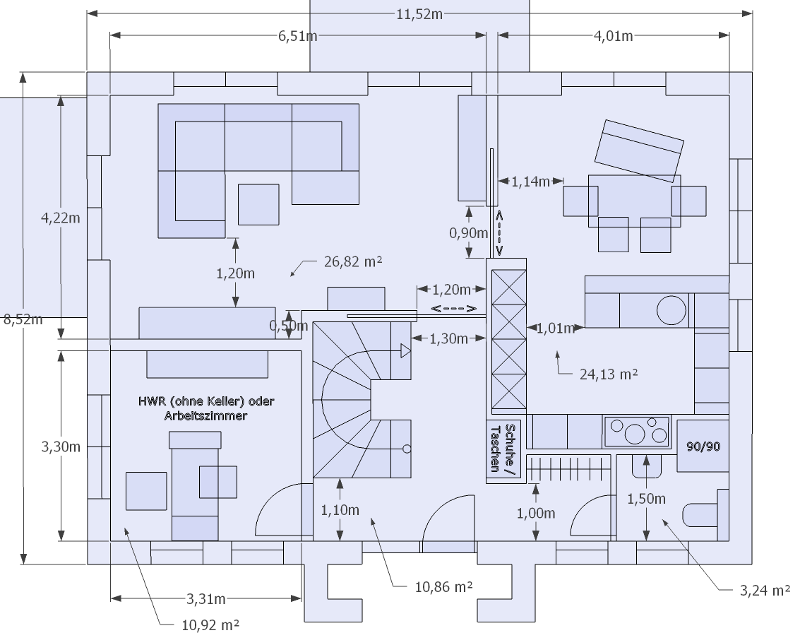 Grundriss Wohnzimmer Modern: Treppe
