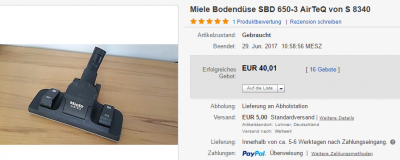 Miele Staubsauger Bodendüse Düsen gebraucht117.1 | eBay